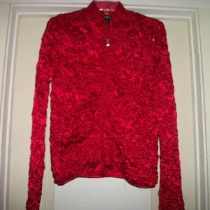 SEXY BRIGHT RED SATIN SHEERED BLING JACKET S
